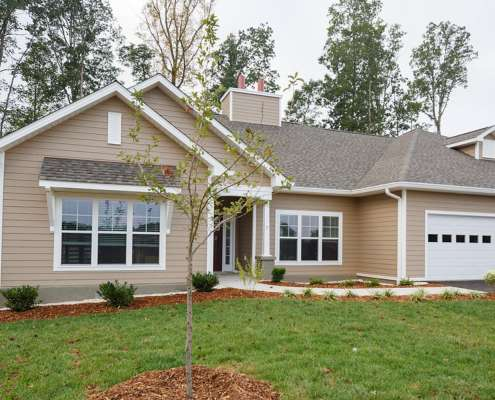 completed new home with landscaping